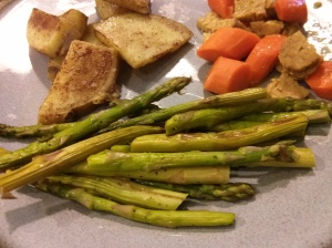 Roasted sweet potatoes, asparagus, tempeh, carrots