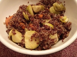 Red Quinoa with Roasted Brussels Sprouts & Carrots