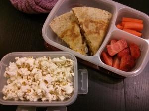 Whole Food Lunch:  Quesadillas, raw carrots, strawberries, popcorn
