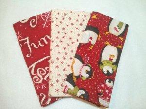 Whimsy Jump for Joy Penguin Snow Fun Cloth Napkins - Set of 3 (12