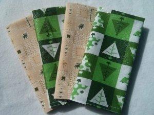 Sparkle Christmas Trees Checkered Cloth Napkin - Set of 4 (12